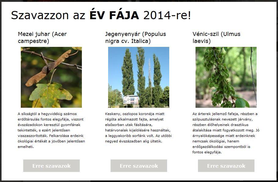 Szavazzon az Év Fája 2014-re!