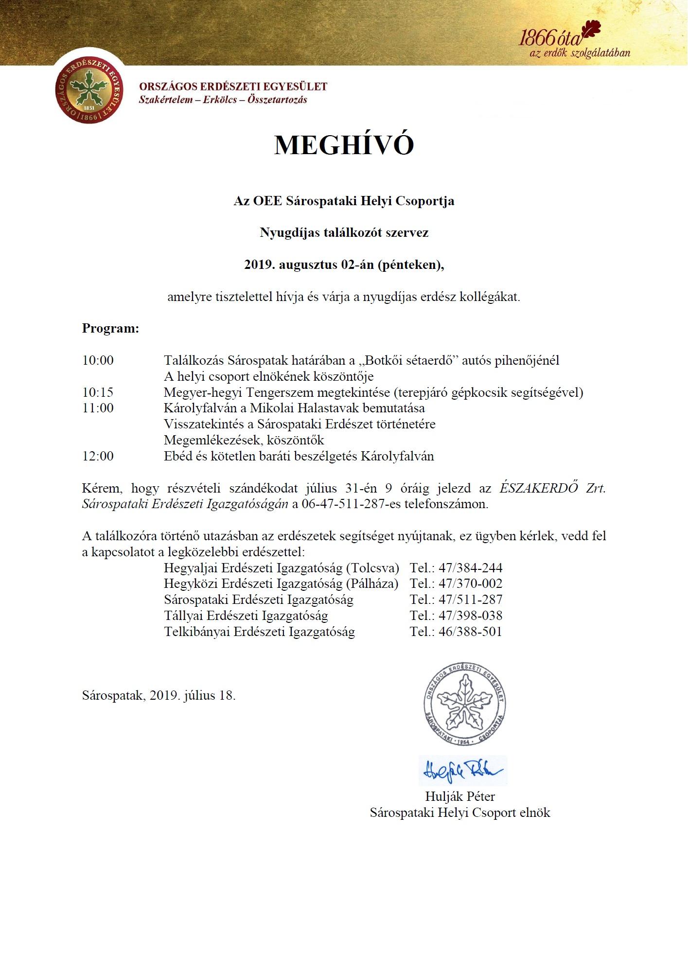 OEE Sárospataki HCS nyugdíjas találkozó