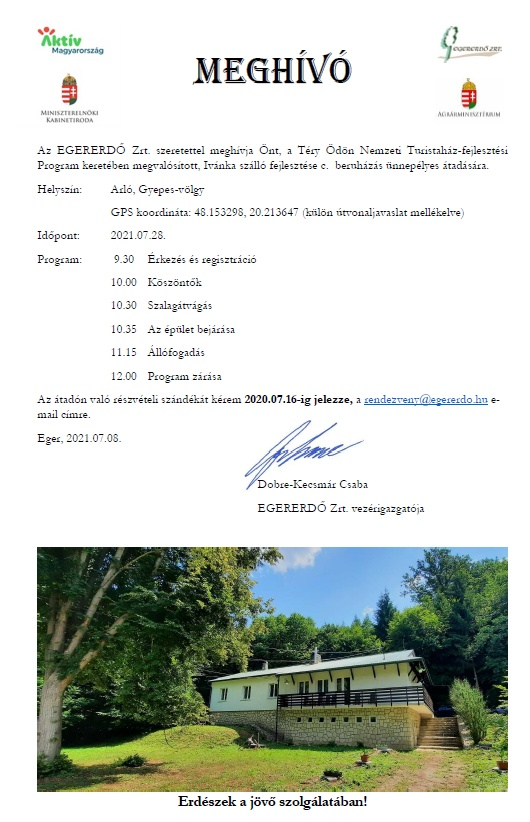Ivánka szálló fejlesztési beruházás ünnepélyes átadása - EGERERDŐ Zrt.