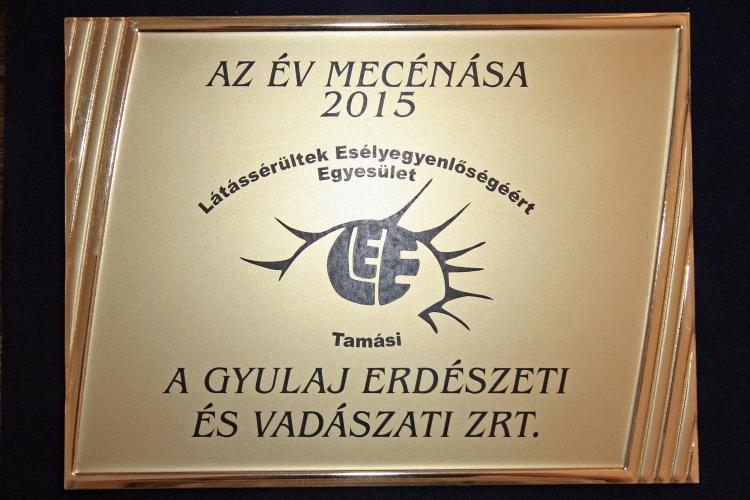 """Az """"Év Mecénása"""" emlékplakett a Gyulaj Erdészeti és Vadászati Zrt.-nek"""
