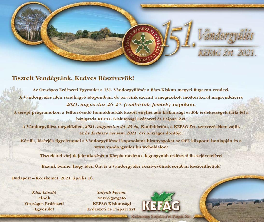 Tervezetten augusztus végén lesz az OEE 151. Vándorgyűlése és az Év Erdésze verseny - invitáció