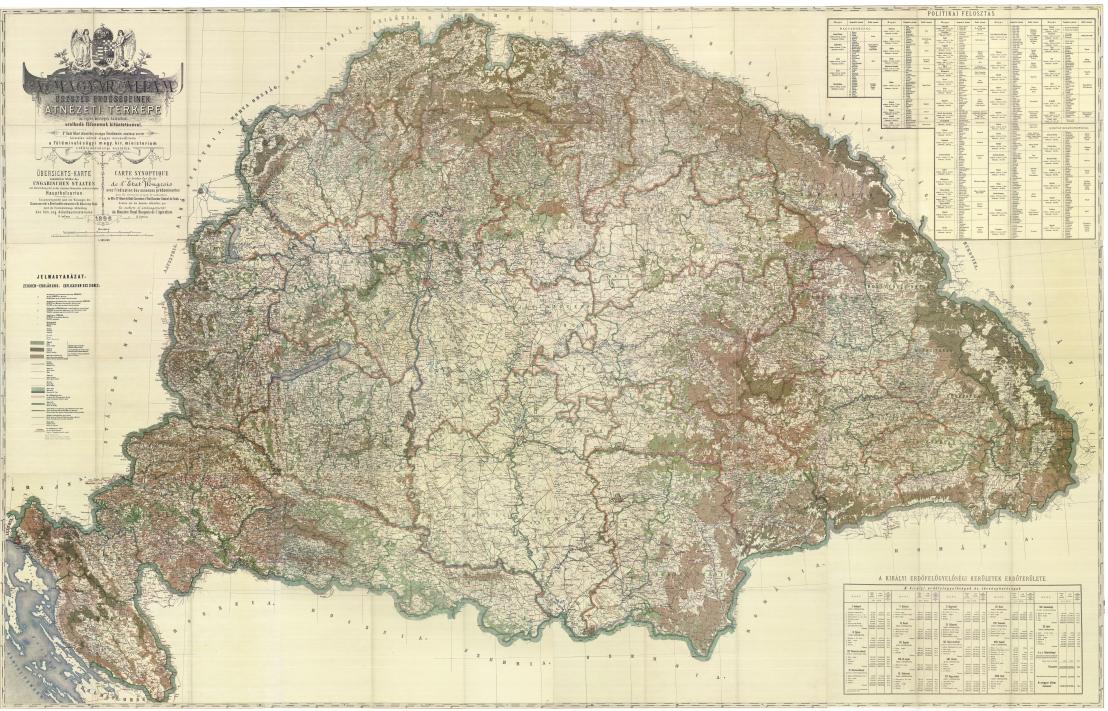 A magyar állam összes erdőségeinek átnézeti térképe –1896 - Reprint- közép méret