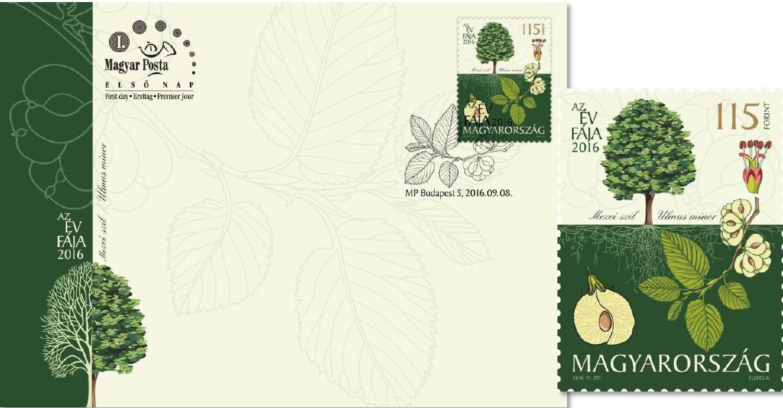 Év Fája 2016 - Mezei szil - Postai emlékbélyeg és alkalmi boríték - szett